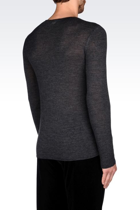 SWEATER IN VIRGIN WOOL: Crewneck sweaters Men by Armani - 3