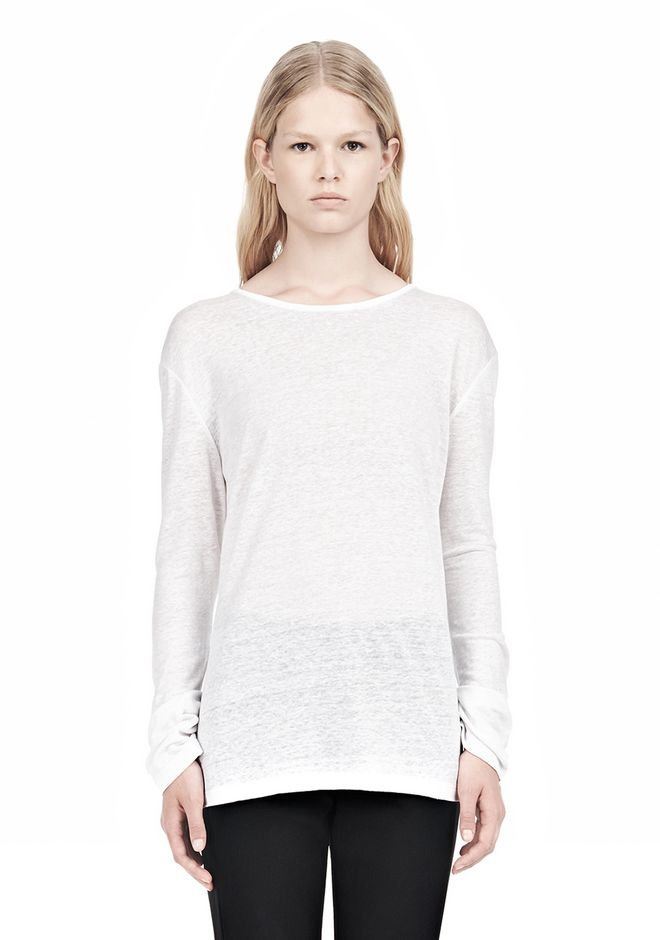 T by ALEXANDER WANG t-by-alexander-wang-sale LINEN SILK LONG SLEEVE TEE