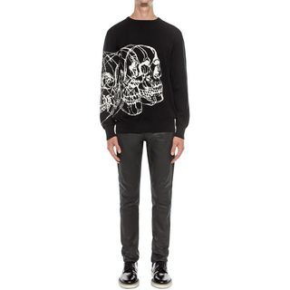 ALEXANDER MCQUEEN, Jumper, Crew Neck Skull Line Drawing Jumper