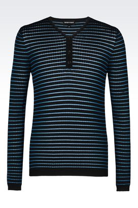 Armani Crewneck sweaters Men striped grandad knit