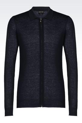 Armani Cardigans Men full zip cardigan in silk and cashmere