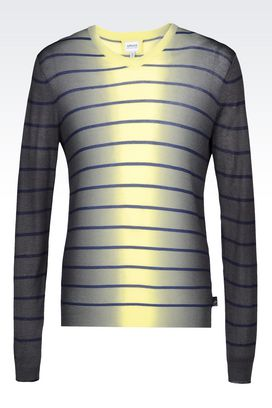 Armani V  neck sweaters Men sweater in striped viscose