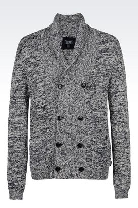 Armani Cardigans Men double-breasted cardigan in cotton blend