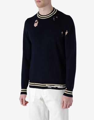 Distressed crewneck sweater