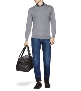 ERMENEGILDO ZEGNA: Crew Neck Sweater Grey - 39607649TX