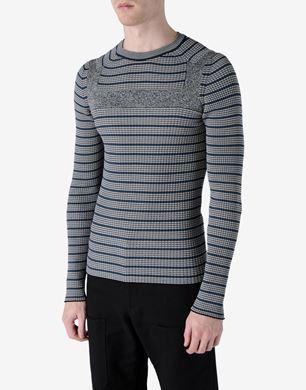 Multi-coloured stripe crewneck sweater