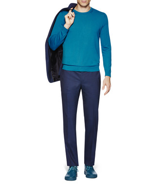 ZZEGNA: Crew Neck Sweater Blue - 39612186IS