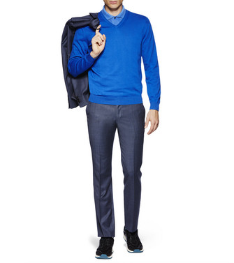 ZZEGNA: V-Neck Jumper Blue - 39612187WU