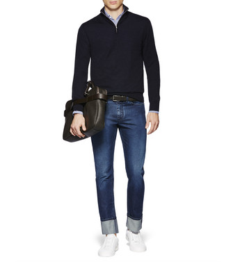 ERMENEGILDO ZEGNA: High Neck Blue - 39613049RC