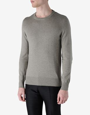 Crewneck sweater with leather elbow patches