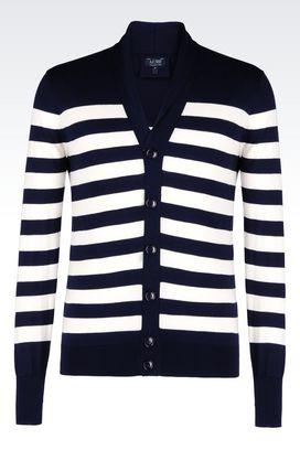 Armani Cardigans Men two-colour striped cardigan