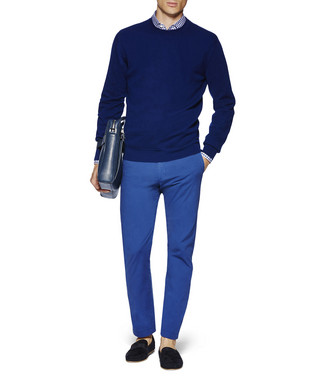ERMENEGILDO ZEGNA: Crew Neck Jumper Blue - 39616214UK