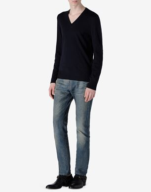 V-neck sweater with leather elbow patches