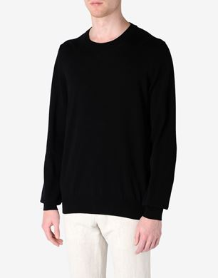 Crewneck sweater with sheepskin elbow patches