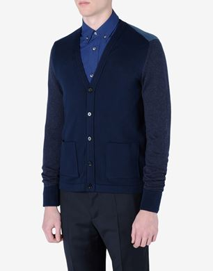 Tri-coloured cotton cardigan