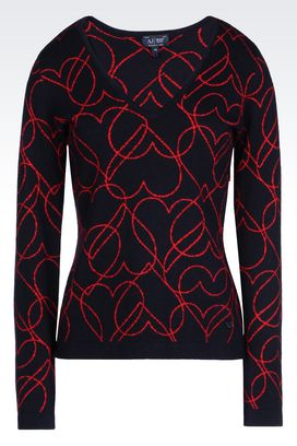 Armani V  neck sweaters Women heart print sweater