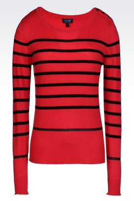 Armani Crewneck sweaters Women jumper in striped viscose blend
