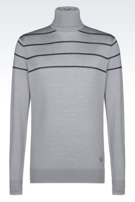 Armani High neck sweaters Men turtleneck sweater in wool and silk