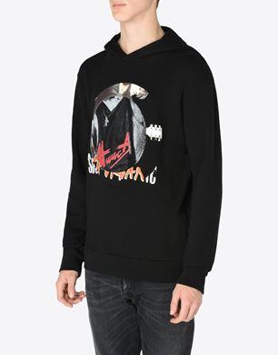 Printed cotton hoodie