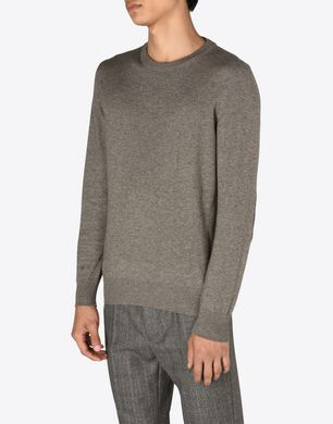 Crewneck sweater with elbow patches