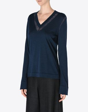 Wool sweater with loose-knit detail