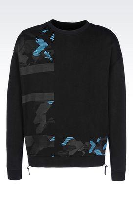 Armani Sweatshirts Men sweatshirt in embossed effect technical fabric