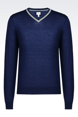 Armani V  neck sweaters Men sweater in virgin wool