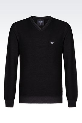 Armani V  neck sweaters Men sweater in wool pique