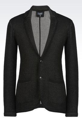Armani Cardigans Men slim fit jacket in cotton pique