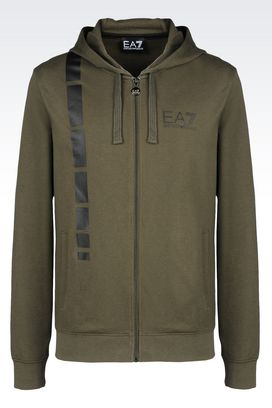 Armani Zip sweatshirts Men 7 lines full zip hooded sweatshirt