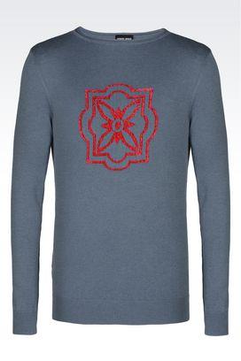 Armani Maglioni Uomo maglia girocollo in lana e cotone con intarsio