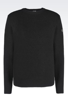 Armani Crewneck sweaters Men runway bi-material sweater