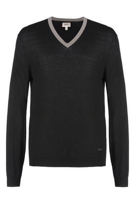 Armani V  neck sweaters Men colour block cashmere crew neck sweater