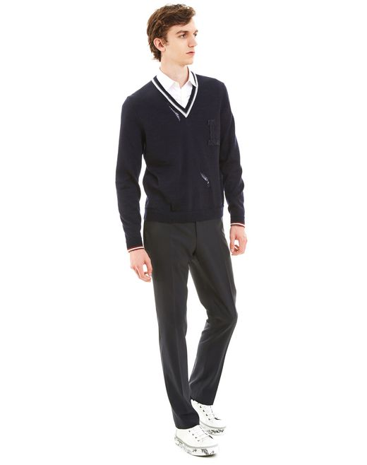 lanvin openwork v-neck sweater men