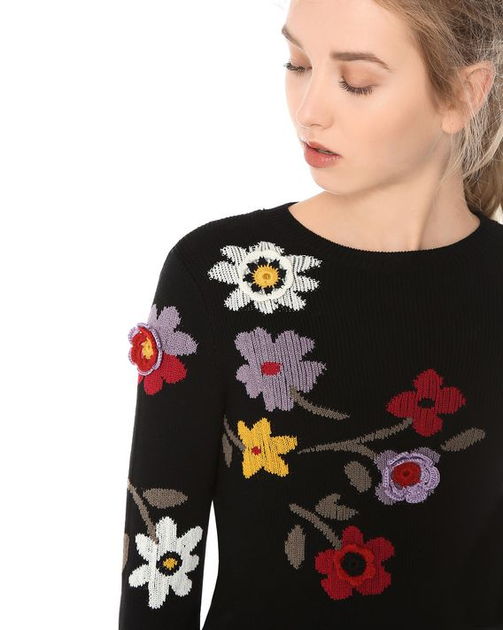 REDValentino FLORAL INTARSIA AND CROCHET DETAIL KNIT SWEATER