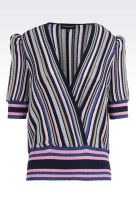 Armani Maglie scollo a V Donna maglia in misto cotone con maniche a palloncino