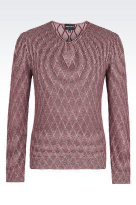 Armani Maglioni Uomo maglia in lana e cotone con collo a v
