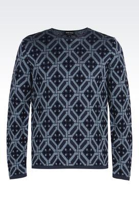 Armani Maglioni Uomo maglia in jacquard di lana e cotone