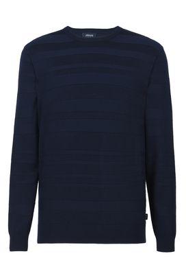 Armani Crewneck sweaters Men tone-on-tone stripe crew neck sweater