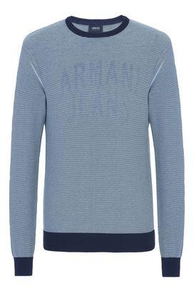 Armani Crewneck sweaters Men striped crew neck sweater with maxi logo