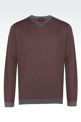 Armani Maglioni Uomo maglia in jacquard di pura lana con collo a v