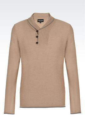 Armani Maglioni Uomo maglia con collo a scialle in lana e seta