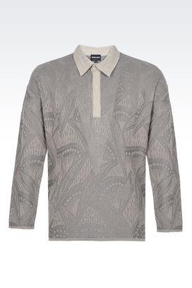 Armani Top in maglia Uomo t-shirt polo in misto cotone