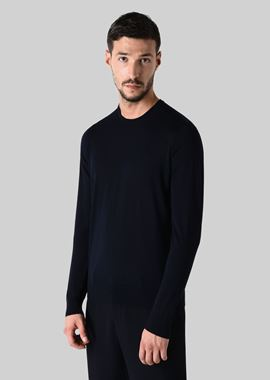 Armani Sweaters Men pure wool crew neck pullover