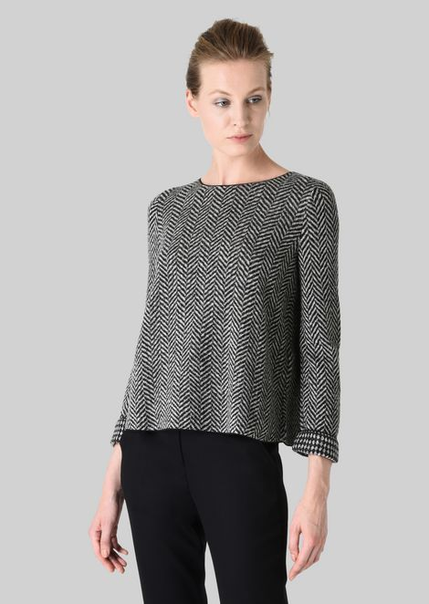 REVERSIBLE WOOL SWEATER: Knitted Tops Women by Armani - 3