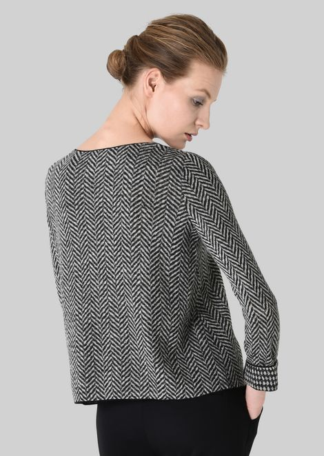 REVERSIBLE WOOL SWEATER: Knitted Tops Women by Armani - 4