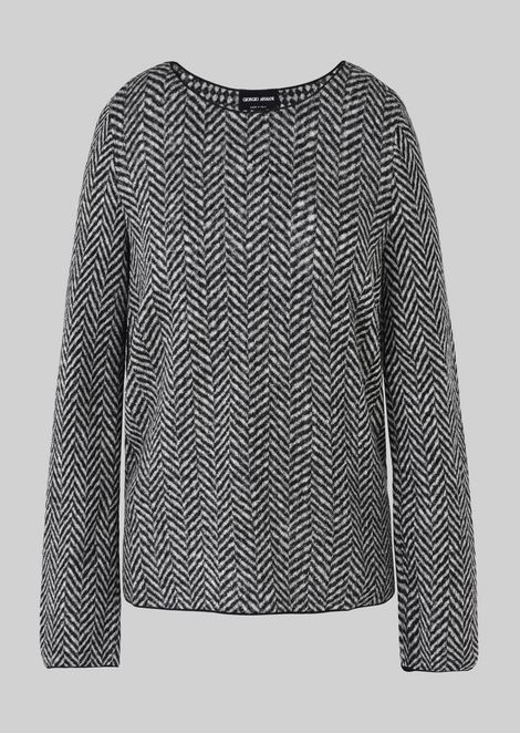 REVERSIBLE WOOL SWEATER: Knitted Tops Women by Armani - 2