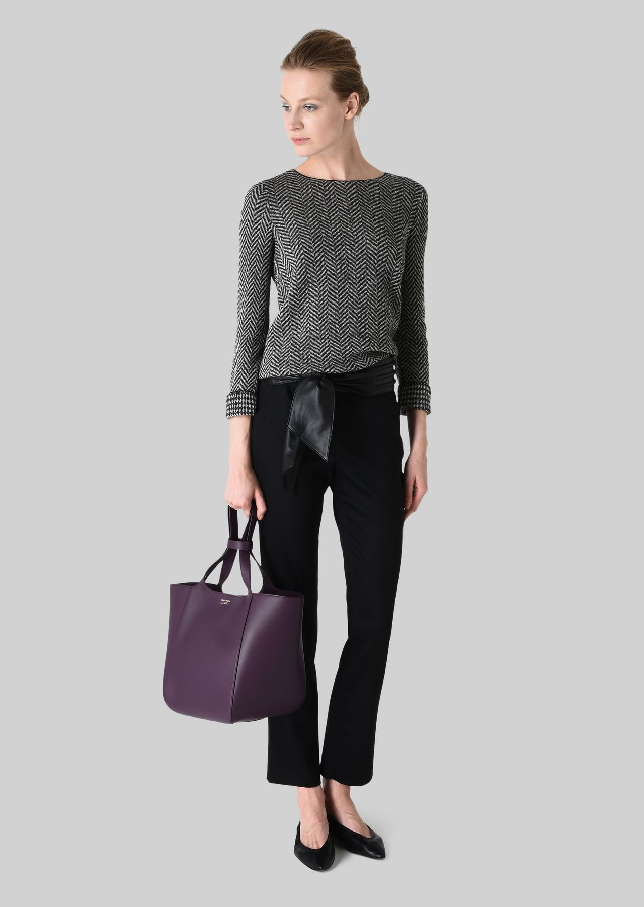 REVERSIBLE WOOL SWEATER: Knitted Tops Women by Armani - 0