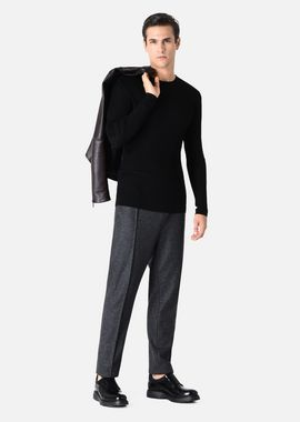 Armani Sweaters Men crewneck pullover in ribbed wool