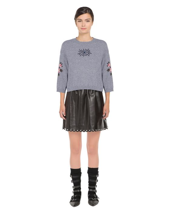REDValentino Wool blend sweater with gothic amulets intarsia